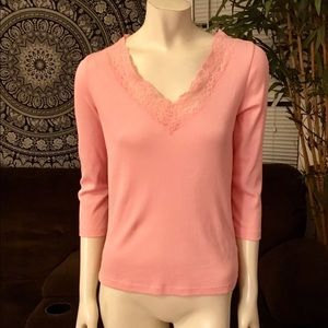 Ralph Lauren Long Sleeve Pink Lace Ribbed Tee M